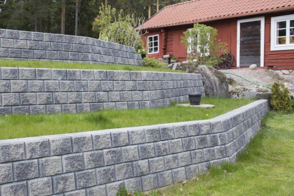 Norblokk Dekorativ Gråmix mur forstøtningsur Støttemur