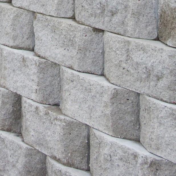 Megastone Rundhugget Grå Mur Støttemur Betongstein